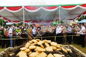 Kapolda dan Plt Bupati Beri Apresiasi, Polres Lampung Selatan Musnahkan Narkoba Senilai Rp40 Miliar