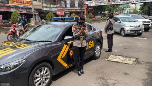 Minimalisir Penyebaran Covid-19, Polwan Subdit Gasum Ditsamapta Polda Banten Lakukan Patroli