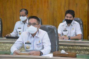 Bupati Zaiful Bersama Gubernur Lampung Rapat Pemberantasan Korupsi Melalui Vicon
