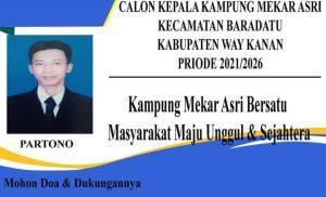 Partono Optimis Maju Di Pilkakam Serentak 2021 Di Kampung Mekar Asri