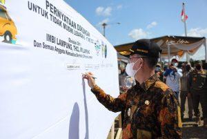 Cegah Penyebaran Covid19, Pemprov Lampung Lakukan Ikar Bersama Komunitas Kendaraan Larangan Mudik