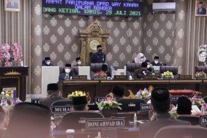 DPRD Way Kanan Paripurna Pengesahan Raperda Pertanggungjawaban APBD Tahun 2020
