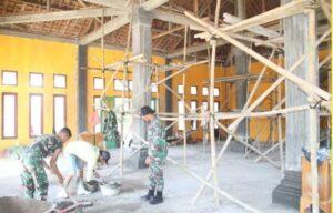 TMMD Ke-112 Kodim 0426 Tulang Bawang Renovasi Masjid Jami'rodhotul Jannah di Kampung Gunung Tapa Ilir